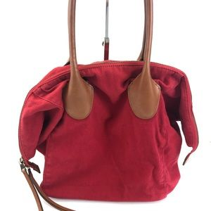 Linea Pelle Large Red Canvas Brown Leather Tote